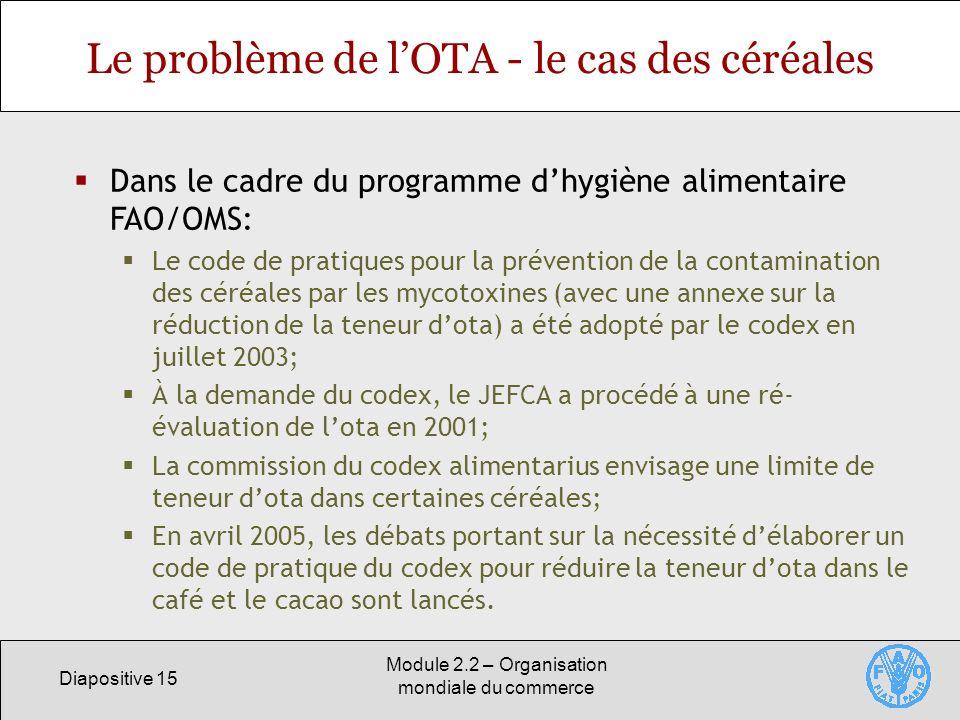 Diapositive 15 Module 2.2 – Organisation mondiale du commerce Le problème de lOTA - le cas des céréales Dans le cadre du programme dhygiène alimentair