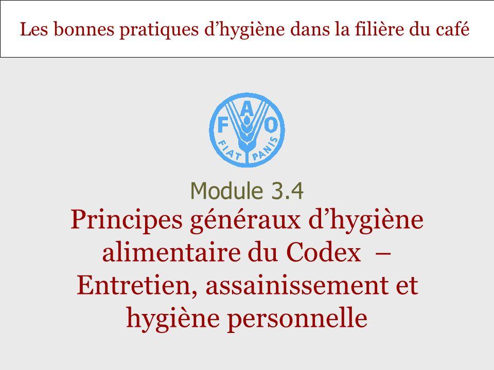Les bonnes pratiques dhygiène dans la filière du café Principes généraux dhygiène alimentaire du Codex – Entretien, assainissement et hygiène personne