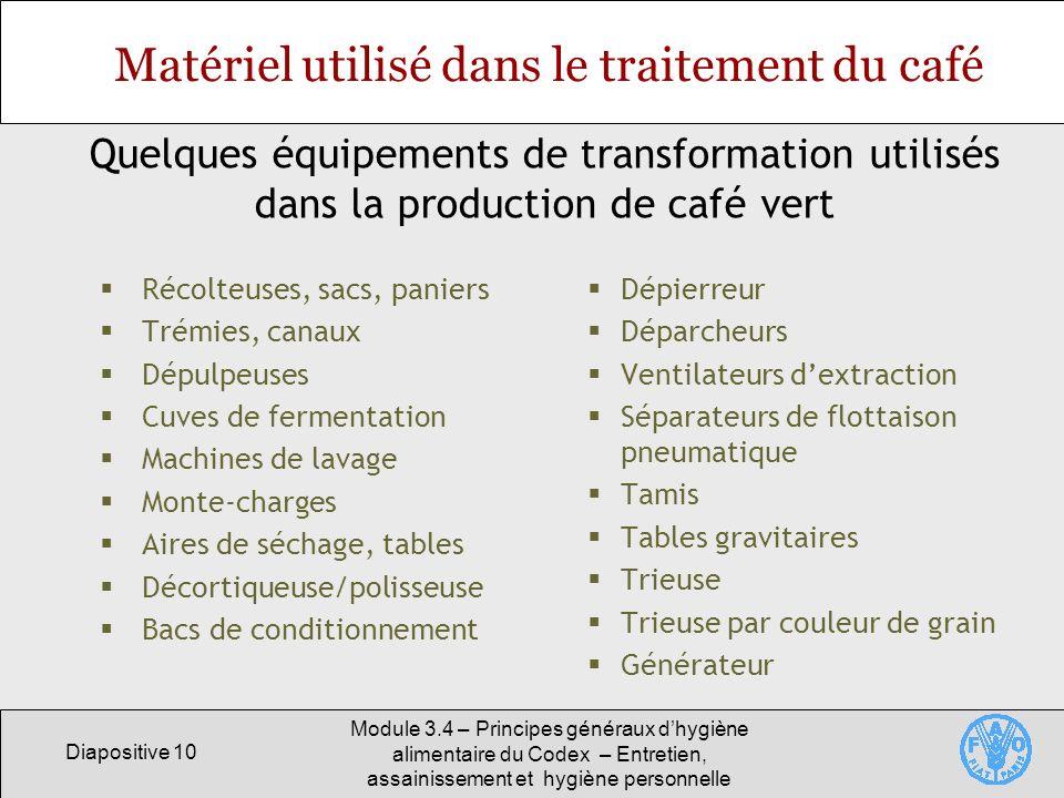 Diapositive 10 Module 3.4 – Principes généraux dhygiène alimentaire du Codex – Entretien, assainissement et hygiène personnelle Matériel utilisé dans