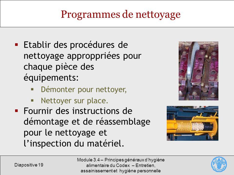 Diapositive 19 Module 3.4 – Principes généraux dhygiène alimentaire du Codex – Entretien, assainissement et hygiène personnelle Programmes de nettoyag