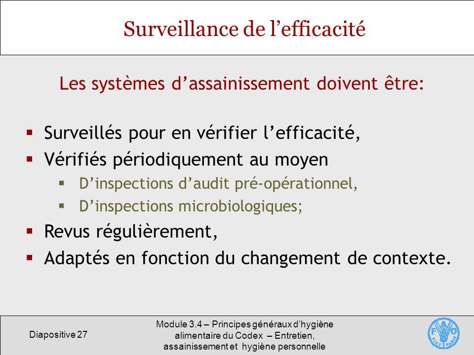 Diapositive 27 Module 3.4 – Principes généraux dhygiène alimentaire du Codex – Entretien, assainissement et hygiène personnelle Surveillance de leffic