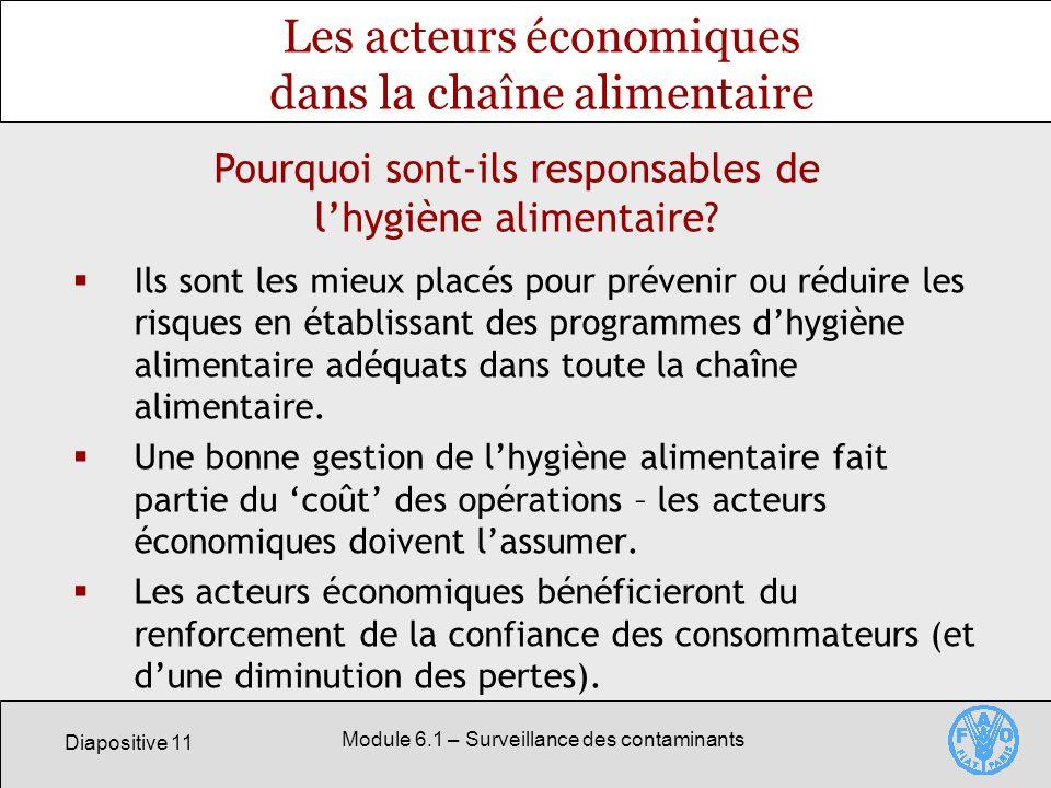 Diapositive 11 Module 6.1 – Surveillance des contaminants Les acteurs économiques dans la chaîne alimentaire Ils sont les mieux placés pour prévenir ou réduire les risques en établissant des programmes dhygiène alimentaire adéquats dans toute la chaîne alimentaire.