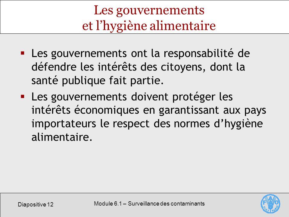Diapositive 12 Module 6.1 – Surveillance des contaminants Les gouvernements et lhygiène alimentaire Les gouvernements ont la responsabilité de défendre les intérêts des citoyens, dont la santé publique fait partie.