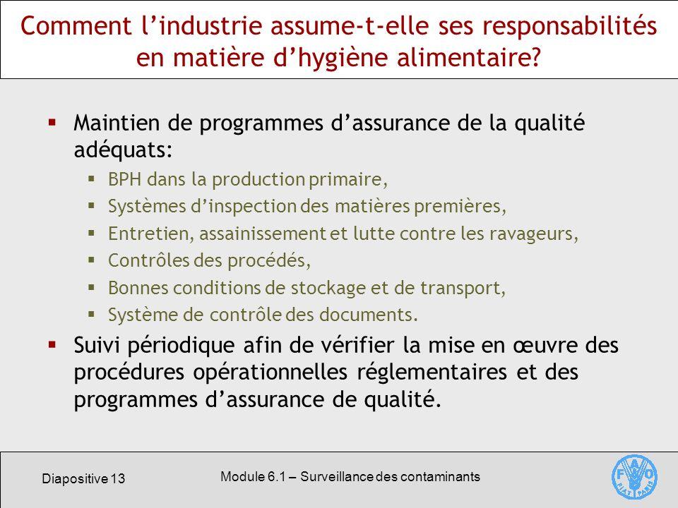 Diapositive 13 Module 6.1 – Surveillance des contaminants Comment lindustrie assume-t-elle ses responsabilités en matière dhygiène alimentaire.