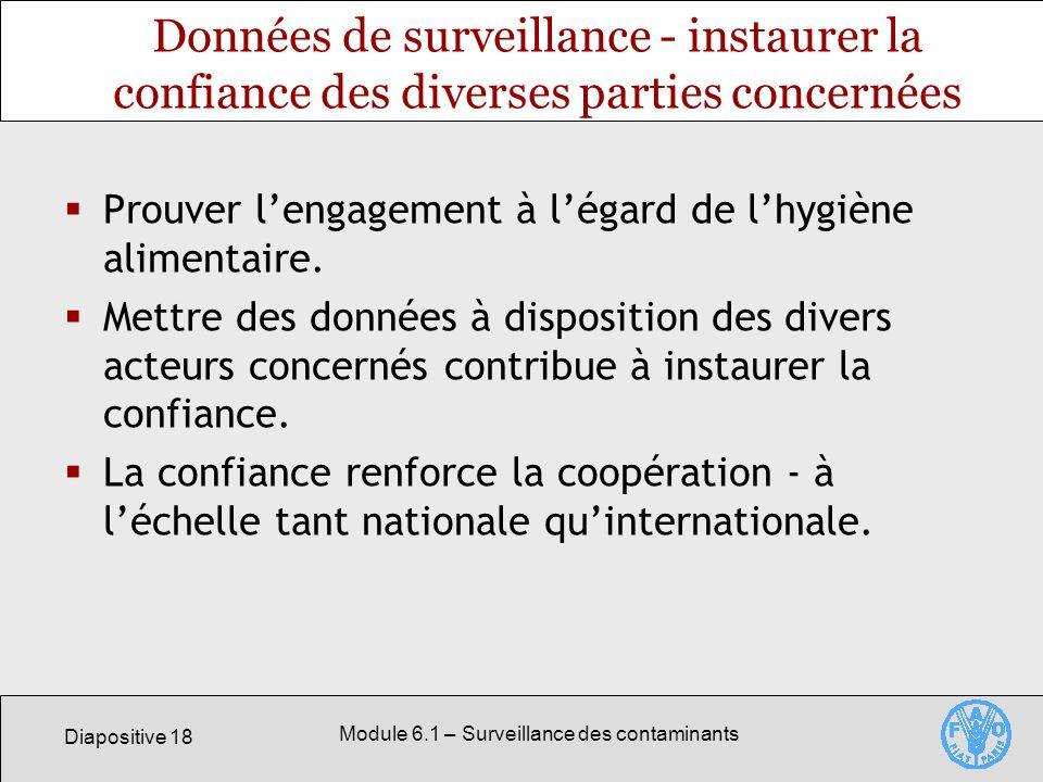 Diapositive 18 Module 6.1 – Surveillance des contaminants Données de surveillance - instaurer la confiance des diverses parties concernées Prouver lengagement à légard de lhygiène alimentaire.