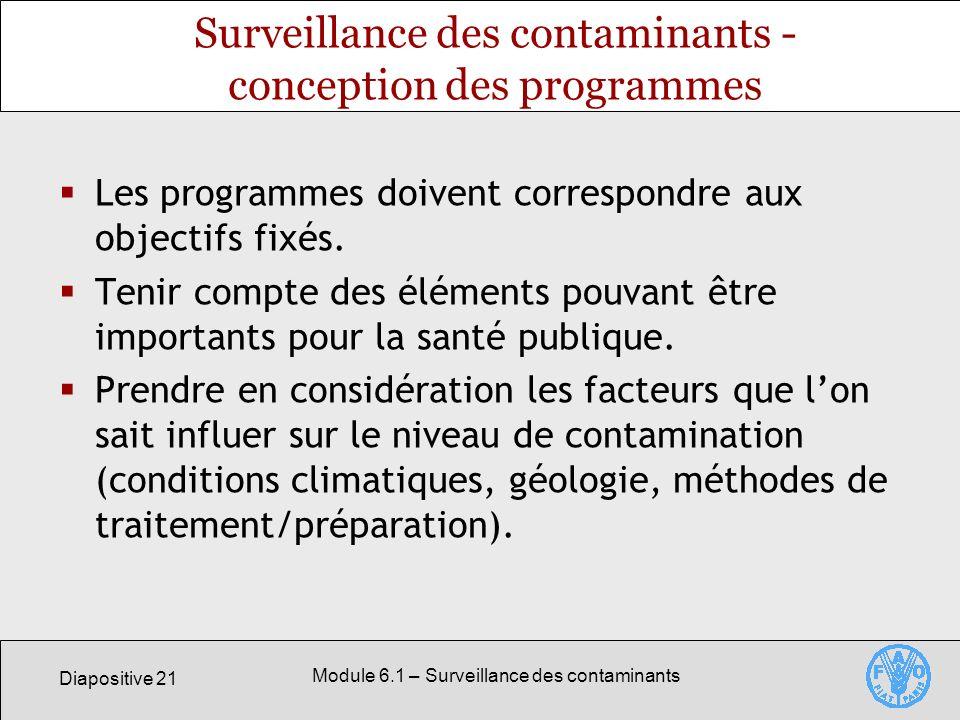 Diapositive 21 Module 6.1 – Surveillance des contaminants Surveillance des contaminants - conception des programmes Les programmes doivent correspondre aux objectifs fixés.