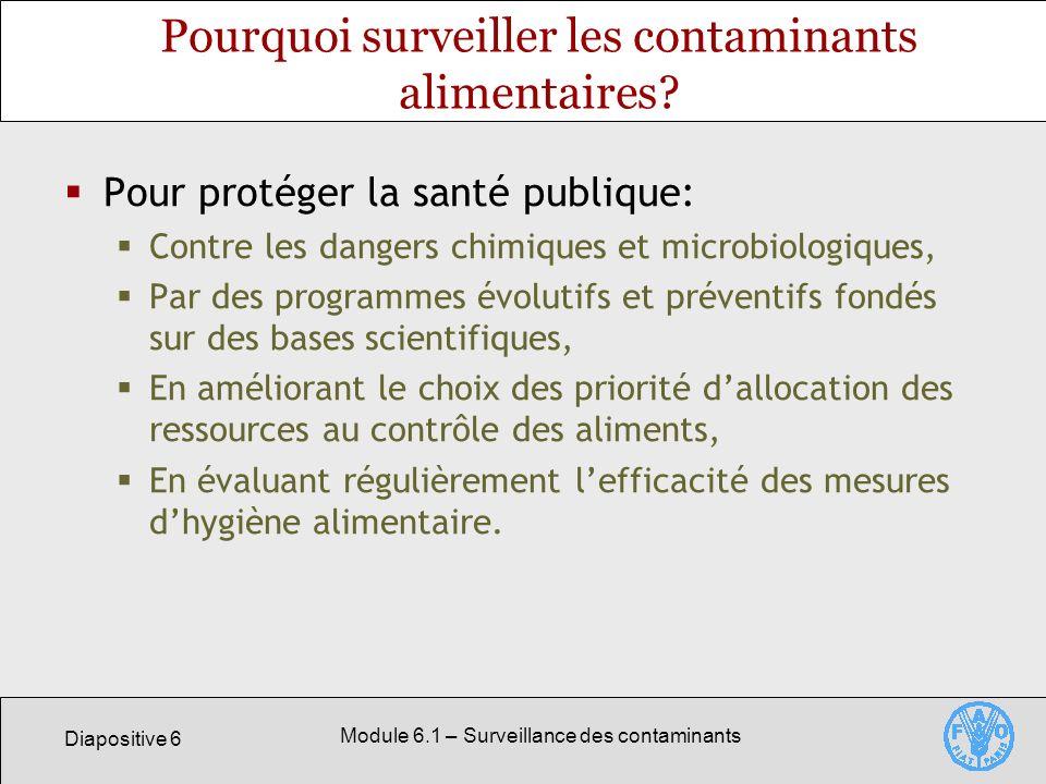 Diapositive 6 Module 6.1 – Surveillance des contaminants Pourquoi surveiller les contaminants alimentaires.