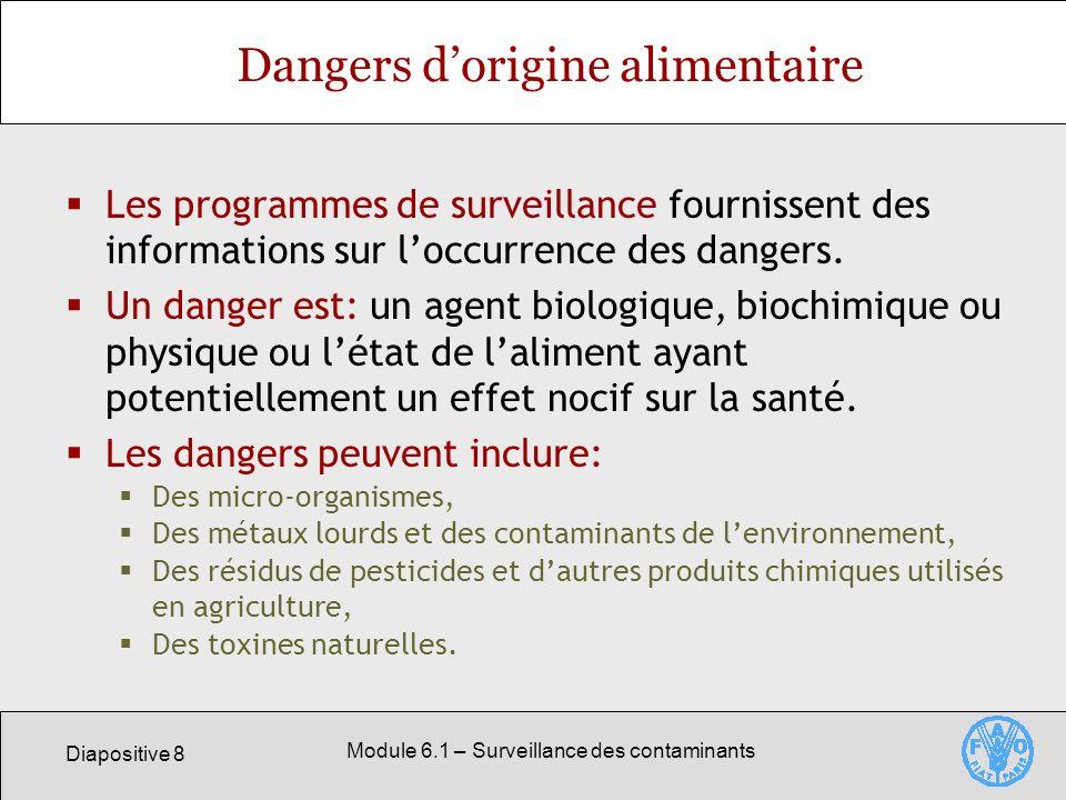 Diapositive 8 Module 6.1 – Surveillance des contaminants Dangers dorigine alimentaire Les programmes de surveillance fournissent des informations sur loccurrence des dangers.
