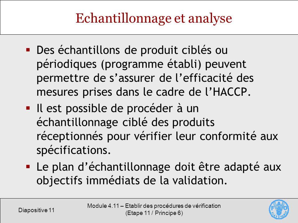 Diapositive 11 Module 4.11 – Etablir des procédures de vérification (Etape 11 / Principe 6) Echantillonnage et analyse Des échantillons de produit cib