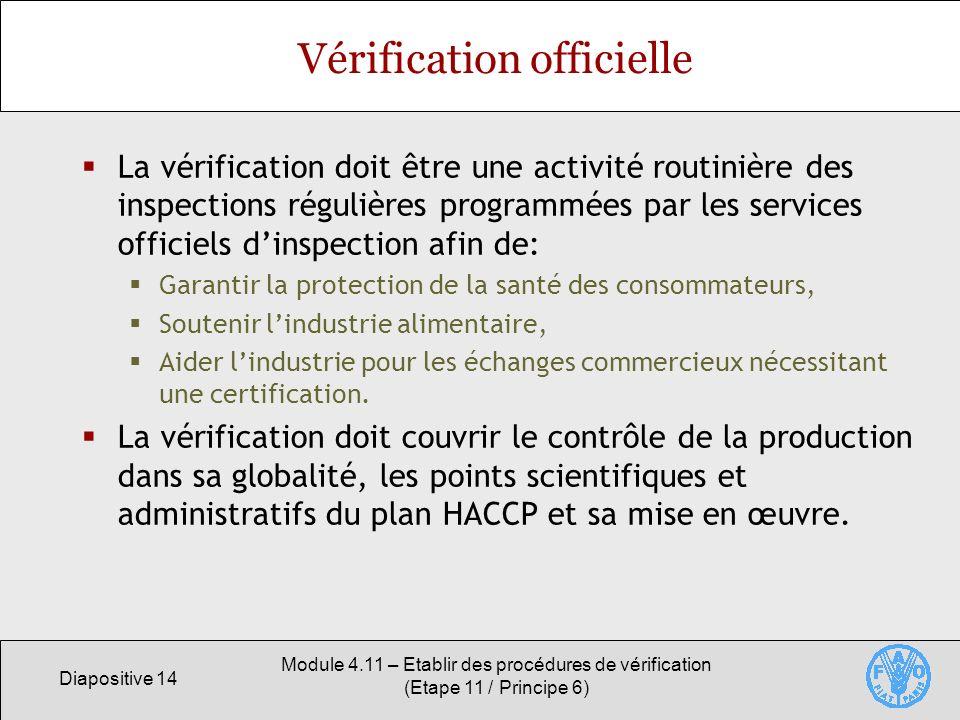 Diapositive 14 Module 4.11 – Etablir des procédures de vérification (Etape 11 / Principe 6) Vérification officielle La vérification doit être une acti