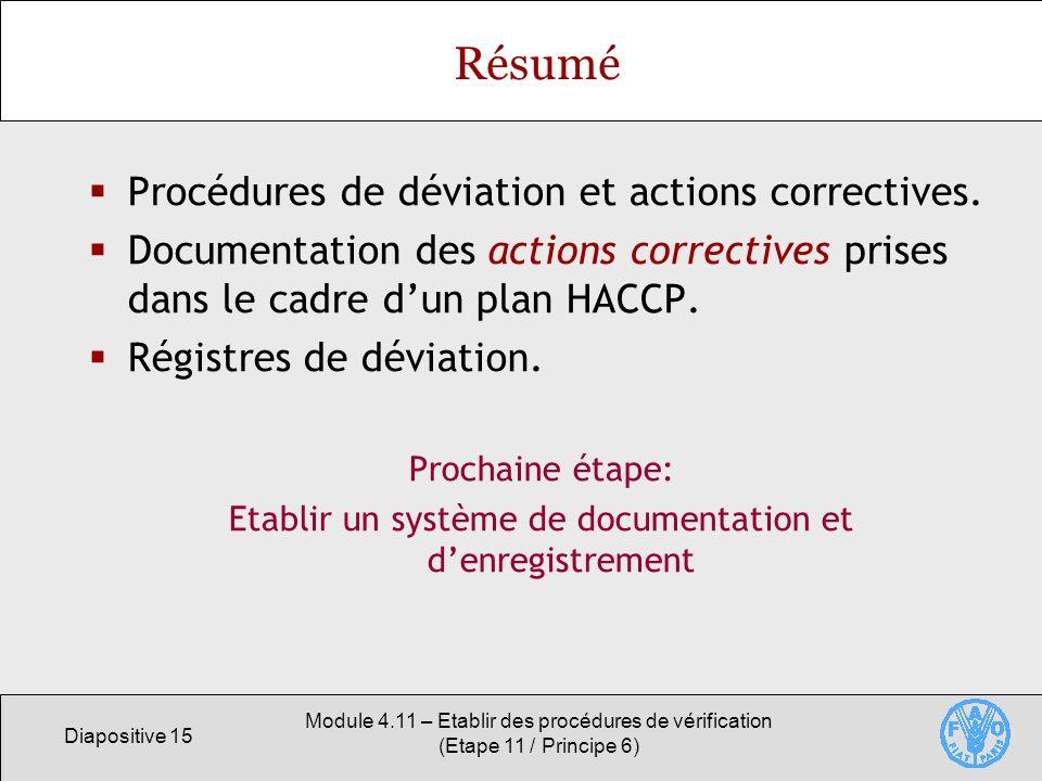 Diapositive 15 Module 4.11 – Etablir des procédures de vérification (Etape 11 / Principe 6) Résumé Procédures de déviation et actions correctives. Doc