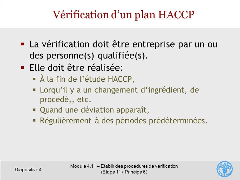 Diapositive 5 Module 4.11 – Etablir des procédures de vérification (Etape 11 / Principe 6) Importance de la vérification Confirmer lefficacité du plan HACCP en théorie et en pratique pour Permettre au producteur de mettre à contribution les mesures de maîtrise.