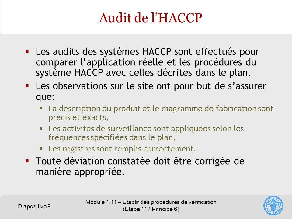 Diapositive 8 Module 4.11 – Etablir des procédures de vérification (Etape 11 / Principe 6) Audit de lHACCP Les audits des systèmes HACCP sont effectué
