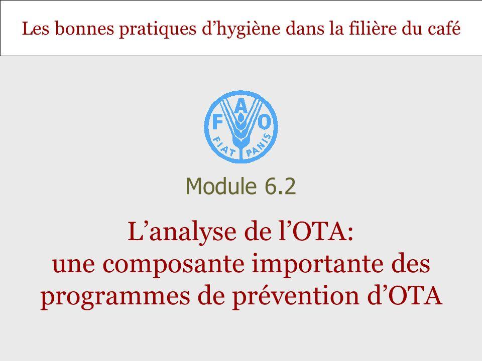 Diapositive 22 Module 6.2 – Lanalyse de lOTA: une composante importante des programmes de prévention dOTA Les étapes danalyse de lOTA - extraction, détection et quantification Les m é thodes disponibles sont: La chromatographie liquide avec d é tection par fluorescence, La chromatographie en couche mince, Le test ELISA (acronyme de Enzyme-linked immunosorbent assay ), La fluom é trie, Les instruments de lecture lat é rale (FLD), Le dosage immunologique par polarisation de fluorescence (FPIA).