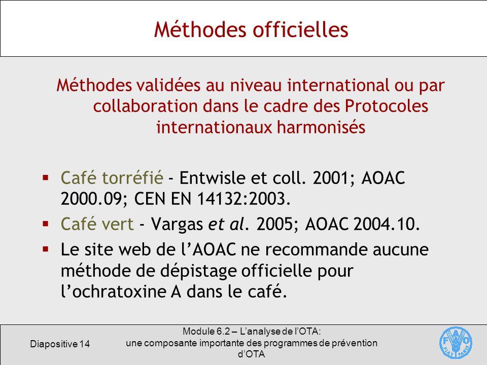 Diapositive 14 Module 6.2 – Lanalyse de lOTA: une composante importante des programmes de prévention dOTA Méthodes officielles Méthodes validées au ni