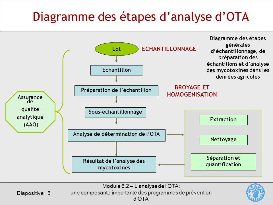 Diapositive 15 Module 6.2 – Lanalyse de lOTA: une composante importante des programmes de prévention dOTA Diagramme des étapes danalyse dOTA Diagramme