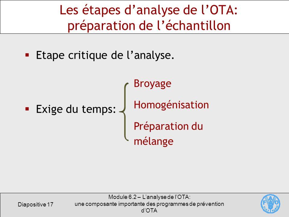 Diapositive 17 Module 6.2 – Lanalyse de lOTA: une composante importante des programmes de prévention dOTA Les étapes danalyse de lOTA: préparation de
