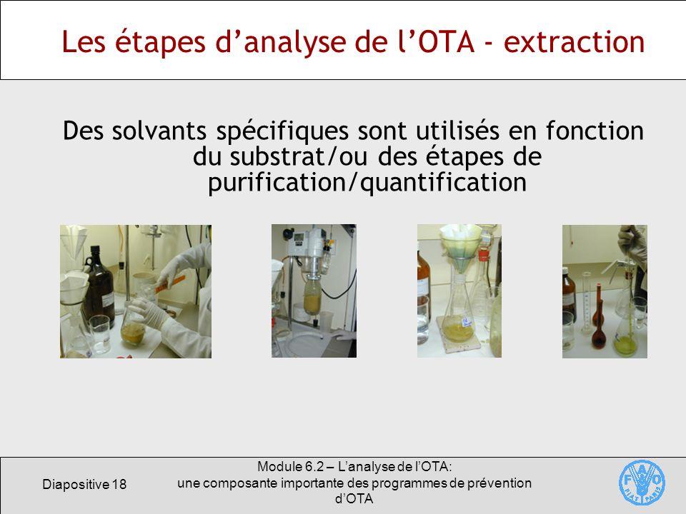 Diapositive 18 Module 6.2 – Lanalyse de lOTA: une composante importante des programmes de prévention dOTA Les étapes danalyse de lOTA - extraction Des