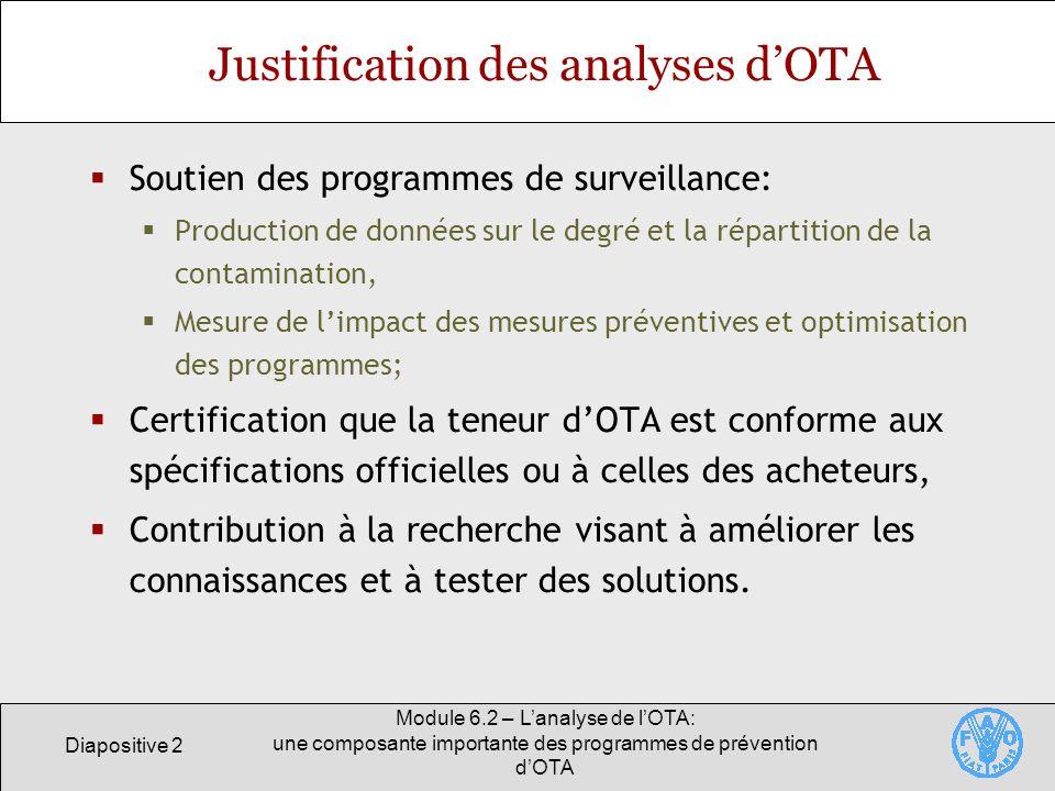 Diapositive 2 Module 6.2 – Lanalyse de lOTA: une composante importante des programmes de prévention dOTA Justification des analyses dOTA Soutien des p