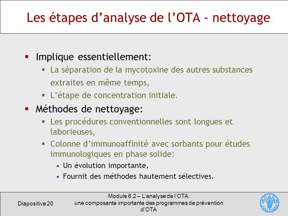 Diapositive 20 Module 6.2 – Lanalyse de lOTA: une composante importante des programmes de prévention dOTA Les étapes danalyse de lOTA - nettoyage Impl