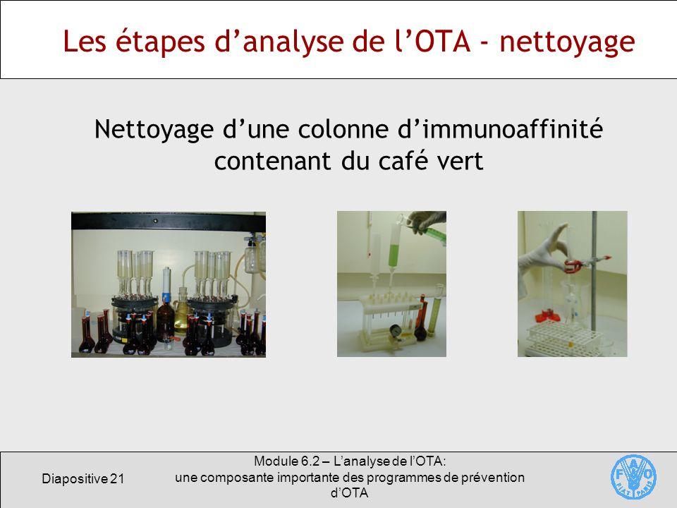 Diapositive 21 Module 6.2 – Lanalyse de lOTA: une composante importante des programmes de prévention dOTA Les étapes danalyse de lOTA - nettoyage Nett