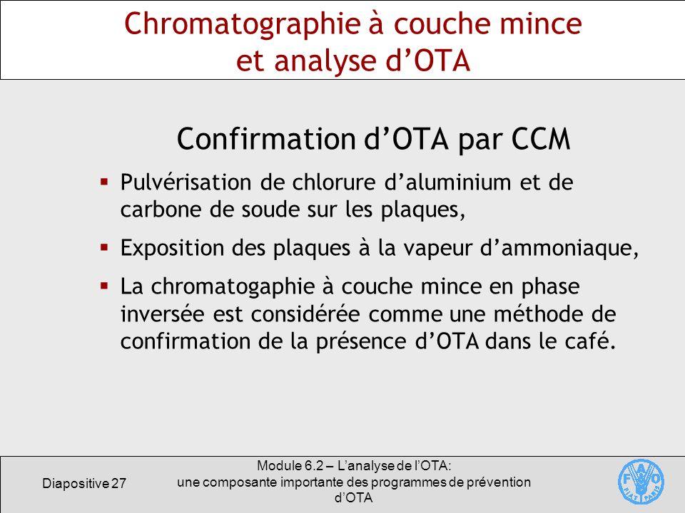 Diapositive 27 Module 6.2 – Lanalyse de lOTA: une composante importante des programmes de prévention dOTA Chromatographie à couche mince et analyse dO