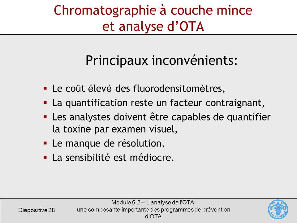 Diapositive 28 Module 6.2 – Lanalyse de lOTA: une composante importante des programmes de prévention dOTA Chromatographie à couche mince et analyse dO