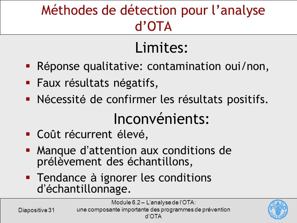 Diapositive 31 Module 6.2 – Lanalyse de lOTA: une composante importante des programmes de prévention dOTA Méthodes de détection pour lanalyse dOTA Lim