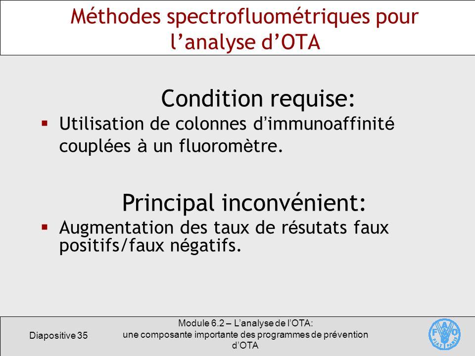 Diapositive 35 Module 6.2 – Lanalyse de lOTA: une composante importante des programmes de prévention dOTA Méthodes spectrofluométriques pour lanalyse