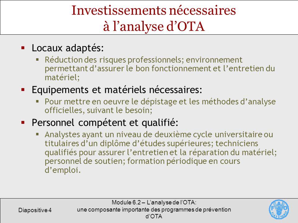 Diapositive 4 Module 6.2 – Lanalyse de lOTA: une composante importante des programmes de prévention dOTA Investissements nécessaires à lanalyse dOTA L