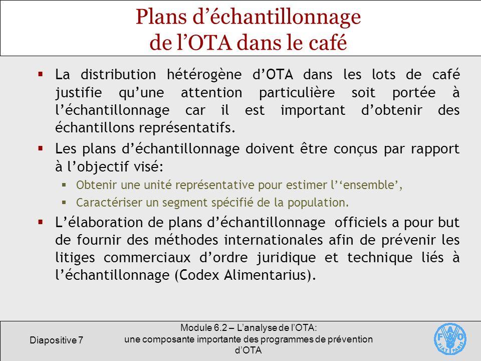 Diapositive 7 Module 6.2 – Lanalyse de lOTA: une composante importante des programmes de prévention dOTA Plans déchantillonnage de lOTA dans le café L