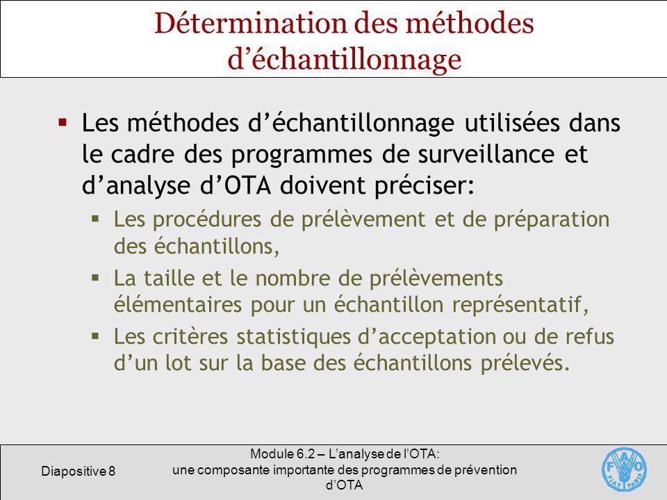 Diapositive 8 Module 6.2 – Lanalyse de lOTA: une composante importante des programmes de prévention dOTA Détermination des méthodes déchantillonnage L