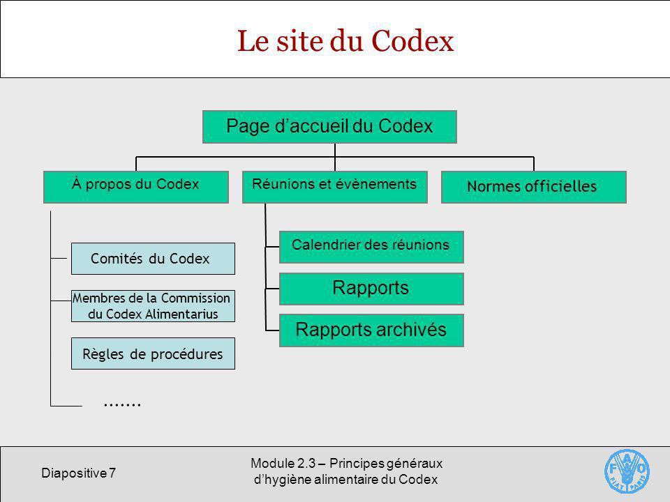 Diapositive 7 Module 2.3 – Principes généraux dhygiène alimentaire du Codex Le site du Codex À propos du Codex Calendrier des réunions Rapports Rappor