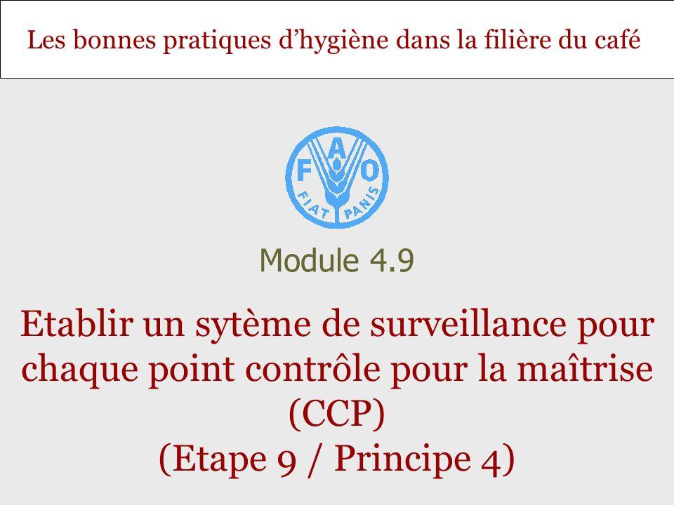 Diapositive 2 Module 4.9 – Etablir un sytème de surveillance pour chaque point contrôle pour la maîtrise (CCP) (Etape 9 / Principe 4) Objectif et contenu Objectif: Permettre aux stagiaires dacquérir les compétences nécessaires pour établir un système de surveillance dans le cadre dun plan HACCP.