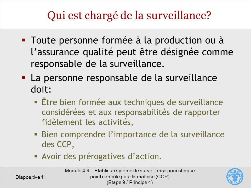 Diapositive 11 Module 4.9 – Etablir un sytème de surveillance pour chaque point contrôle pour la maîtrise (CCP) (Etape 9 / Principe 4) Qui est chargé