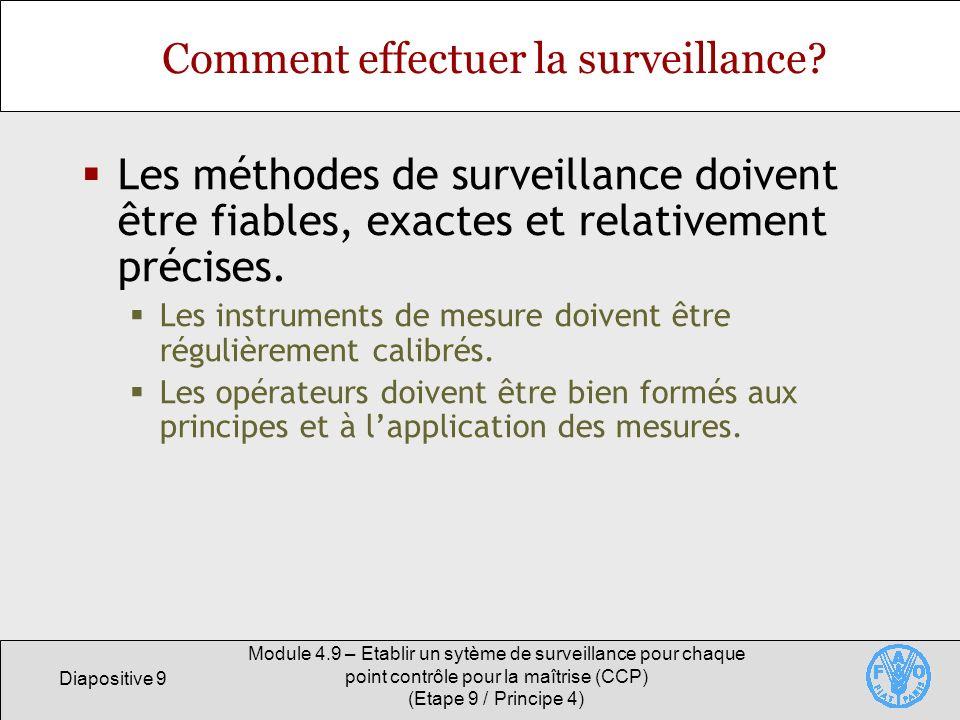 Diapositive 10 Module 4.9 – Etablir un sytème de surveillance pour chaque point contrôle pour la maîtrise (CCP) (Etape 9 / Principe 4) Fréquence de la surveillance La surveillance continue est préférable lorsquelle est possible.