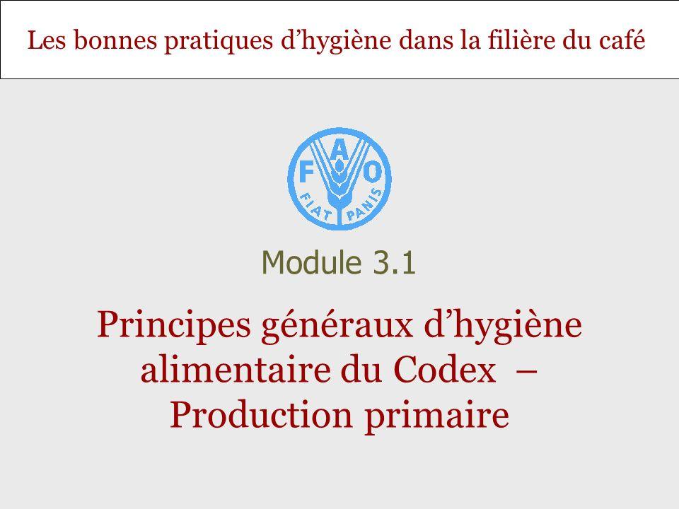 Les bonnes pratiques dhygiène dans la filière du café Principes généraux dhygiène alimentaire du Codex – Production primaire Module 3.1
