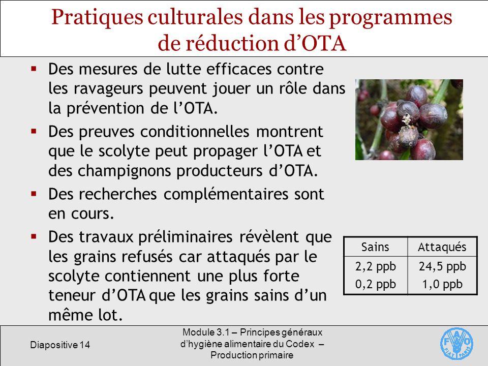 Diapositive 14 Module 3.1 – Principes généraux dhygiène alimentaire du Codex – Production primaire Pratiques culturales dans les programmes de réduction dOTA Des mesures de lutte efficaces contre les ravageurs peuvent jouer un rôle dans la prévention de lOTA.