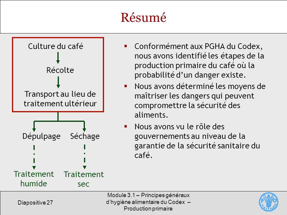 Diapositive 27 Module 3.1 – Principes généraux dhygiène alimentaire du Codex – Production primaire Résumé Conformément aux PGHA du Codex, nous avons identifié les étapes de la production primaire du café où la probabilité dun danger existe.