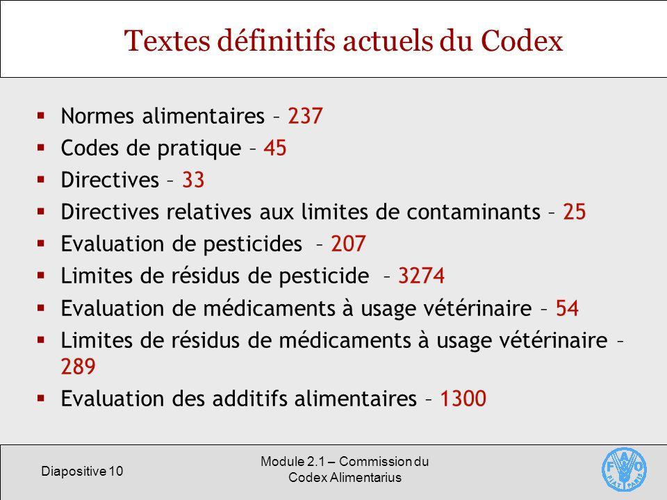 Diapositive 10 Module 2.1 – Commission du Codex Alimentarius Textes définitifs actuels du Codex Normes alimentaires – 237 Codes de pratique – 45 Direc