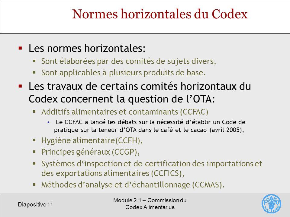 Diapositive 11 Module 2.1 – Commission du Codex Alimentarius Normes horizontales du Codex Les normes horizontales: Sont élaborées par des comités de s