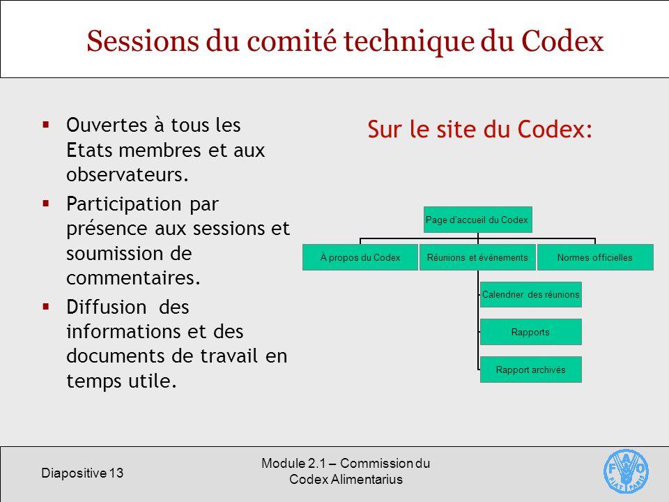 Diapositive 13 Module 2.1 – Commission du Codex Alimentarius Sessions du comité technique du Codex Ouvertes à tous les Etats membres et aux observateu