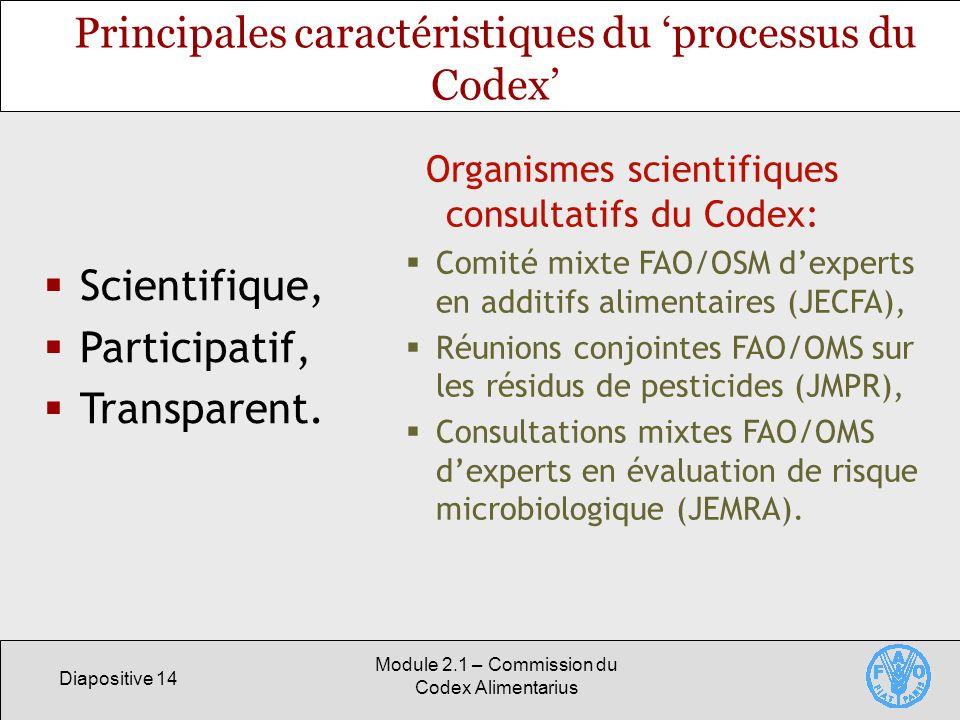 Diapositive 14 Module 2.1 – Commission du Codex Alimentarius Principales caractéristiques du processus du Codex Scientifique, Participatif, Transparen