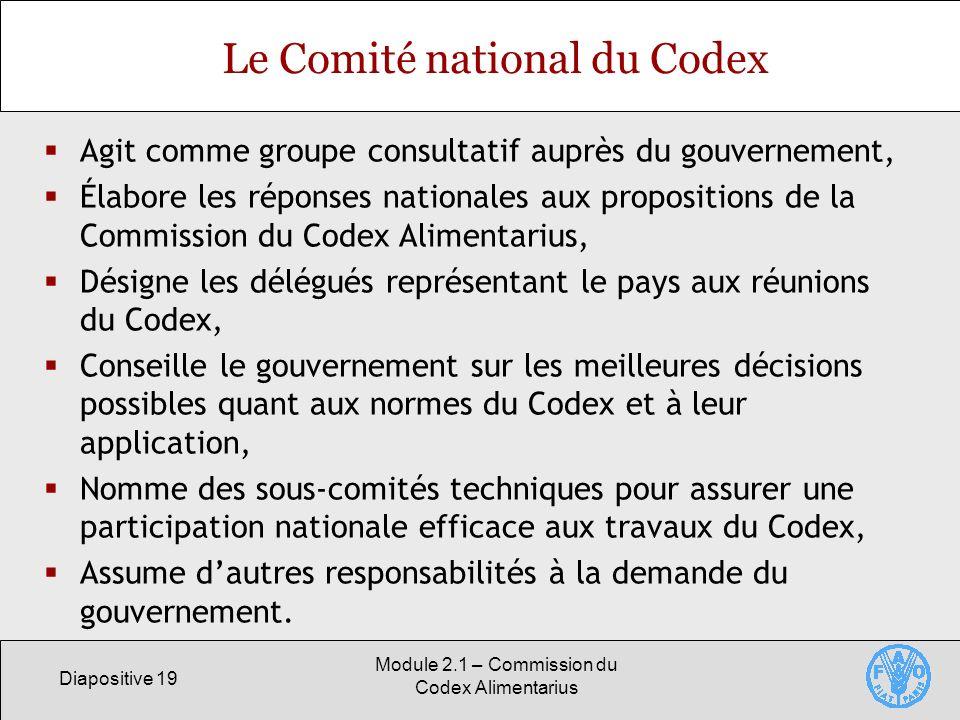 Diapositive 19 Module 2.1 – Commission du Codex Alimentarius Le Comité national du Codex Agit comme groupe consultatif auprès du gouvernement, Élabore