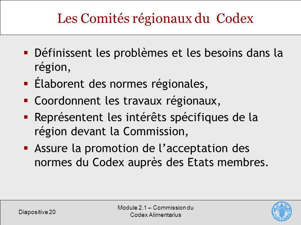 Diapositive 20 Module 2.1 – Commission du Codex Alimentarius Les Comités régionaux du Codex Définissent les problèmes et les besoins dans la région, É