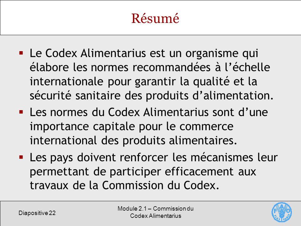 Diapositive 22 Module 2.1 – Commission du Codex Alimentarius Résumé Le Codex Alimentarius est un organisme qui élabore les normes recommandées à léche