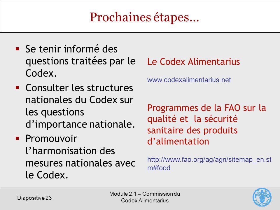 Diapositive 23 Module 2.1 – Commission du Codex Alimentarius Prochaines étapes… Se tenir informé des questions traitées par le Codex. Consulter les st