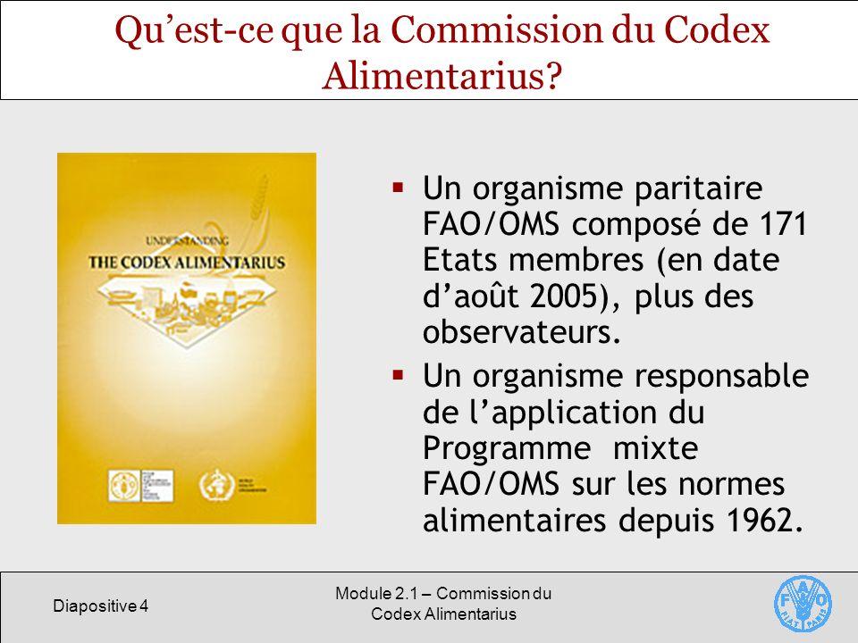 Diapositive 4 Module 2.1 – Commission du Codex Alimentarius Quest-ce que la Commission du Codex Alimentarius? Un organisme paritaire FAO/OMS composé d