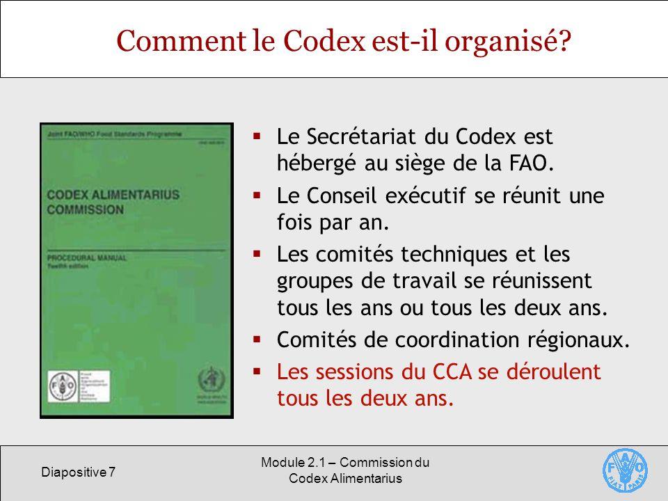 Diapositive 7 Module 2.1 – Commission du Codex Alimentarius Comment le Codex est-il organisé? Le Secrétariat du Codex est hébergé au siège de la FAO.