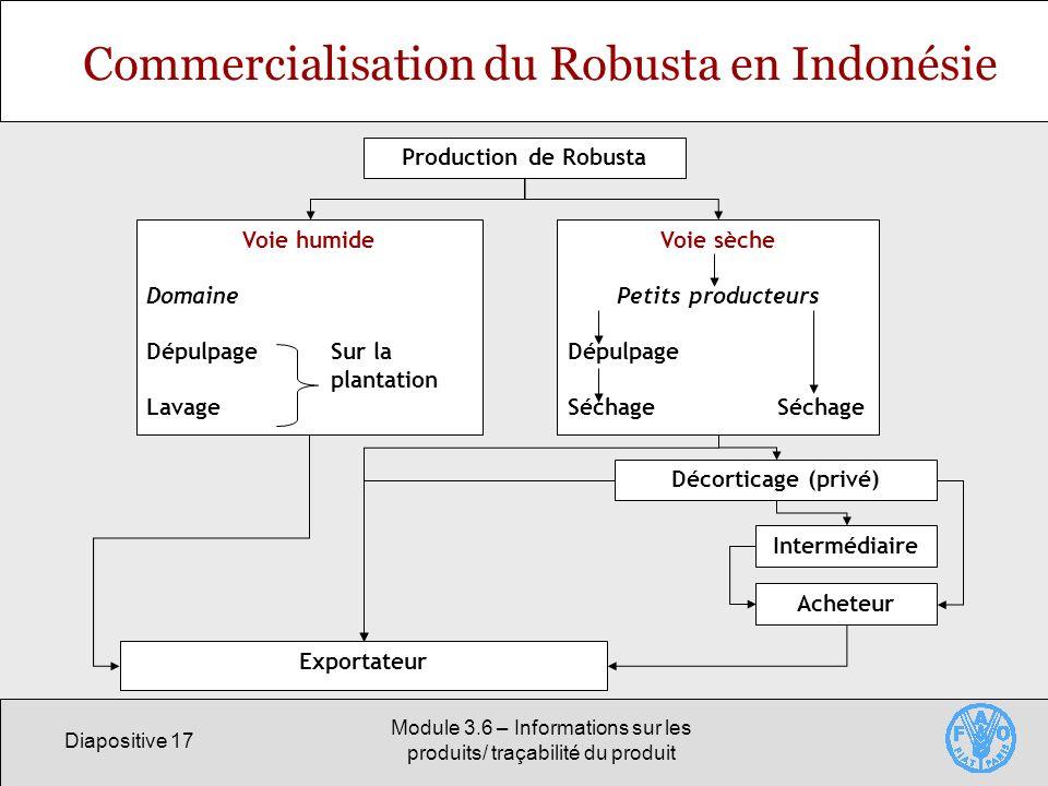 Diapositive 17 Module 3.6 – Informations sur les produits/ traçabilité du produit Commercialisation du Robusta en Indonésie Production de Robusta Voie